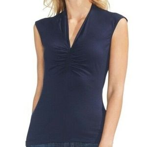 Vince Camuto Top Ruched V Neck Sleeveless Sz XL